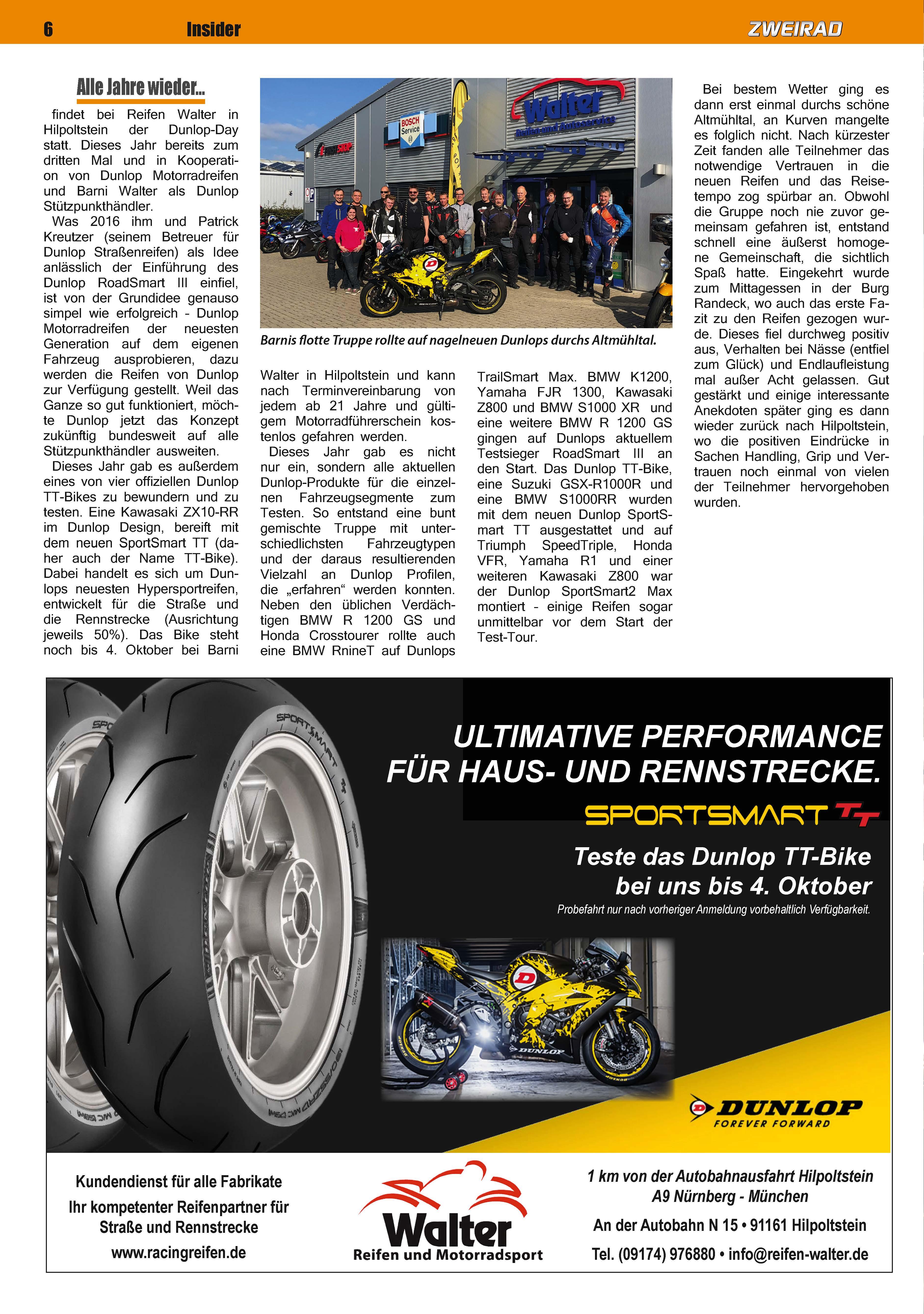 Dunlop Reifentest durchs Altmühltal